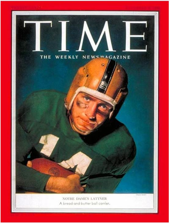 TIME Magazine Cover: John Lattner - Nov. 9, 1953 - Football - Notre Dame -  Sports