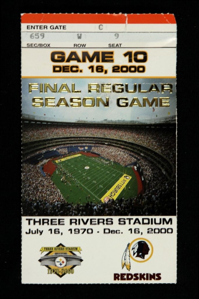 Lot Detail - 2000 Final Regular Season Game at Three Rivers Stadium  Pittsburgh Steelers vs. Washington Redskins Ticket Stub