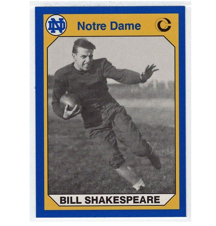 Amazon.com : Bill Shakespeare (Football Card) 1990 Notre Dame Collegiate  Collection # 149 NM/MT : Sports & Outdoors