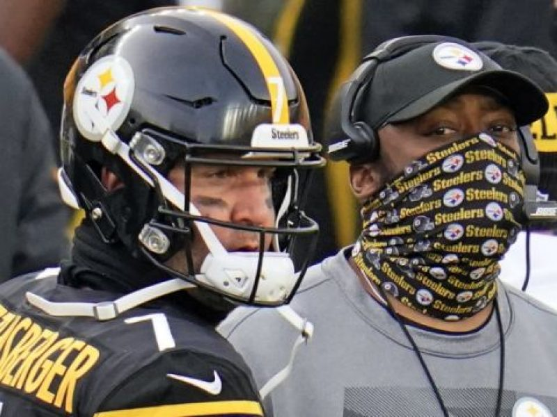 Pittsburgh Steelers quarterback Ben Roethlisberger (7) and head coach Mike Tomlin stand on the sideline during a timeout in the second half of an NFL football game against the Indianapolis Colts, Sunday, Dec. 27, 2020, in Pittsburgh. (AP Photo/Gene J. Puskar)