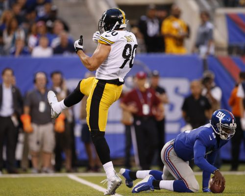 EAST RUTHERFORD, NJ - AUGUST 11: T.J. Watt #90 of the Pittsburgh Steelers reacts after sacking quarterback Josh Johnson #8 of the New York Giants during the first quarter of an NFL preseason game at MetLife Stadium on August 11, 2017 in East Rutherford, New Jersey. (Photo by Rich Schultz/Getty Images)