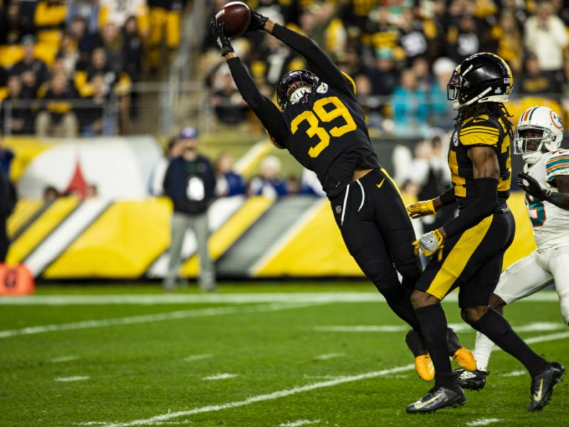 PITTSBURGH, PA - OCTOBER 28: Pittsburgh Steelers free safety Minkah Fitzpatrick (39) intercepts a pass during the NFL football game between the Miami Dolphins and the Pittsburgh Steelers on October 28, 2019 at Heinz Field in Pittsburgh, PA. (Photo by Mark Alberti/Icon Sportswire via Getty Images)