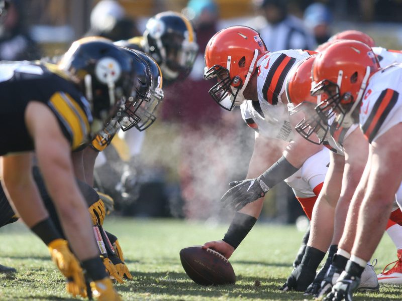 Dec 31, 2017; Pittsburgh, PA, USA;  Cleveland Browns center JC Tretter (64) prepares to snap the ball against the Pittsburgh Steelers defense during the second quarter at Heinz Field. The Steelers won 28-24. Mandatory Credit: Charles LeClaire-USA TODAY Sports