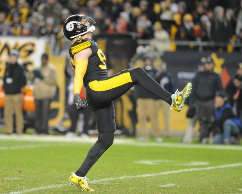 Dec 16, 2018; Pittsburgh, PA, USA; Pittsburgh Steelers linebacker T.J. Watt (90) celebrates a third quarter sack against the New England Patriots at Heinz Field. Mandatory Credit: Philip G. Pavely-USA TODAY Sports